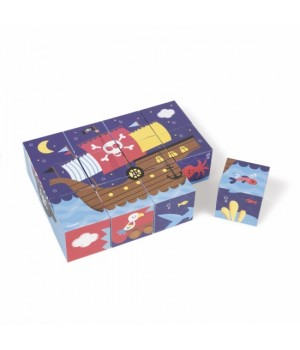 Детские кубики картонные, Пираты, 12 элементов, Janod