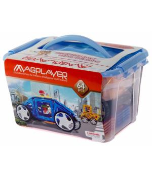 Магнитный конструктор в контейнере, 64 шт, MagPlayer