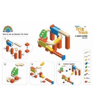 Деревянный конструктор лабиринт с шариком, Trix Track Флиппер, Wonderworld