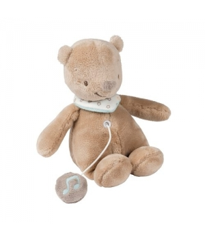 Мягкая игрушка медведь Базиль, музыкальный, (21 см) Nattou