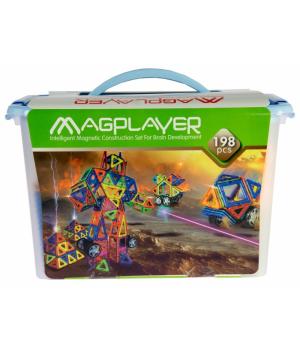 Магнитный конструктор большой набор геометрические фигуры, 198 шт, MagPlayer