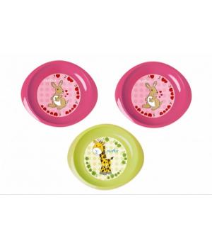 Nuvita Набір тарілочок 6м+ 3шт. дрібні (рожеві і салатова)
