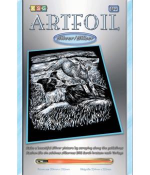 Гравюра для детей набор для творчества ARTFOIL SILVER Sheepdog and Lamb, Sequin