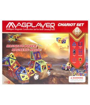 Магнитный конструктор геометрические фигуры с колесами, 66 шт, MagPlayer