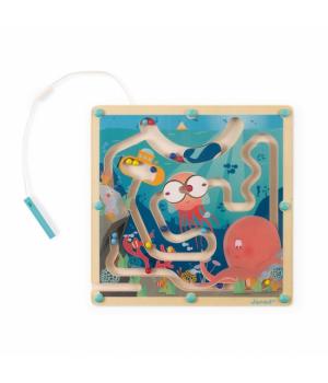 Магнитный лабиринт с шариками для детей, деревянный, Океан, Janod
