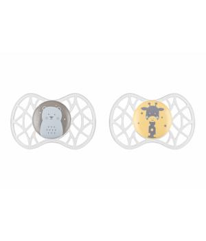 Пустышки с 6 месяцев, силиконовые симметричные, Медвежонок и Жираф, 2 шт, Nuvita