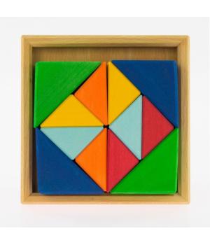 Детский деревянный конструктор Разноцветные треугольники nic