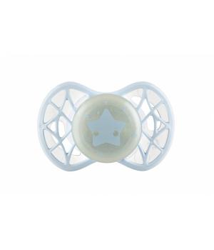 Пустышка ночная ортодонтическая силиконовая (светится в темноте), Air55 Cool 0m+, Nuvita