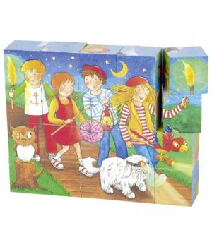 Кубики деревянные для детей с рисунками Peggy Diggledey, goki