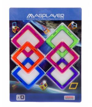 Магнитный конструктор квадраты, 6 шт, MagPlayer