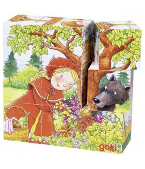 Кубики деревянные для детей с рисунками Сказки, goki
