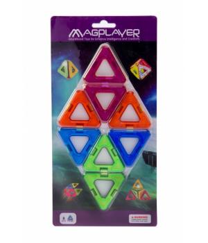Магнитный конструктор треугольники, 8 шт, MagPlayer