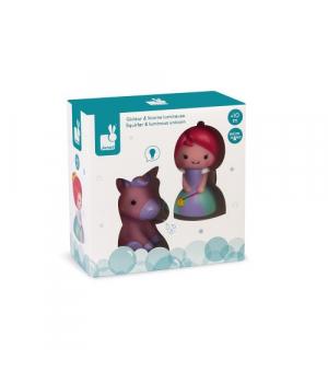 Игрушки для ванны для малышей Принцесса и единорог (со светом), Janod