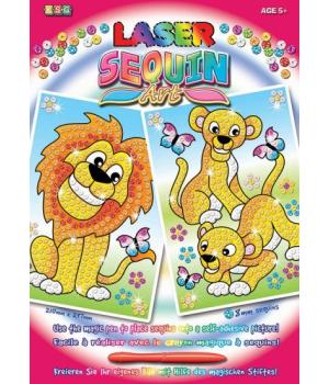 Картины из блесток для детей набор для детского творчества Львы Sequin Art