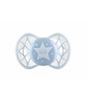 Пустышка силиконовая ортодонтическая Air55 Cool 0m+, голубая, Nuvita
