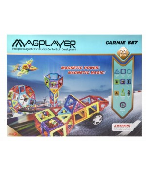 Магнитный конструктор геометрические фигуры, 72 шт, MagPlayer