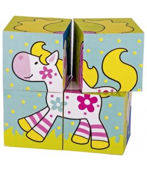 Кубики деревянные для детей с рисунками Мои друзья, goki