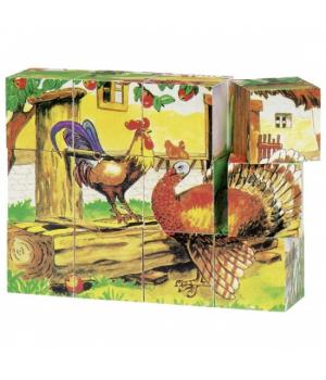Кубики деревянные для детей с рисунками Ферма, goki