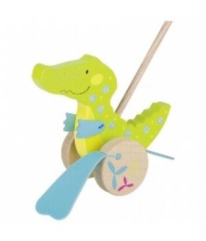 Игрушка каталка с ручкой, Крокодил, Goki
