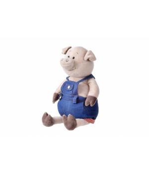 Мягкая игрушка свинья большая в джинсовом комбинезоне  (45 см) Same Toy