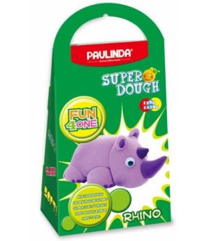 Детская масса для лепки Super Dough Fun4one Носорог (подвижные глазки), PAULINDA