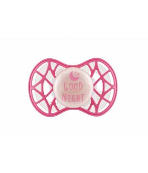 Пустышка розовая, светящаяся в темноте, ортодонтическая от 6 мес, Nuvita