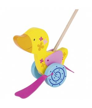 Игрушка деревянная каталка с ручкой, Уточка, Goki