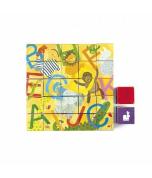 Картонные кубики детские, Английский алфавит и животные, Janod