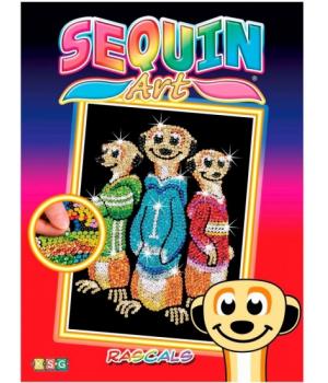 Картина блестками для детей Набор для детского творчества Rascals Meerkats Sequin Art