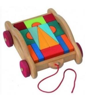 Деревянный конструктор для детей Тоскана с каталкой, 17 эл, nic