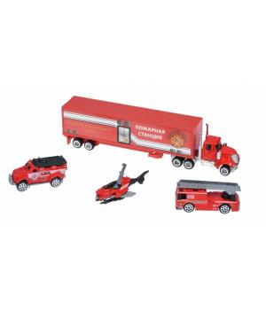 Same Toy Набір машинок Diecast Вантажівка з пожежними