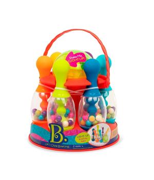 Детский боулинг игрушка - сверкающий, (6 кеглей, шар, подставка), Battat