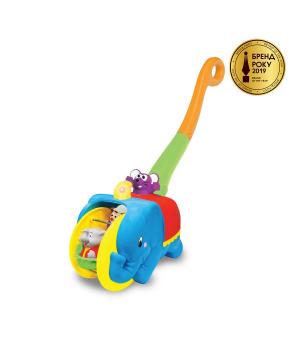 Игрушка каталка с ручкой - Слон циркач (свет, озвуч. укр. яз.), Kiddieland