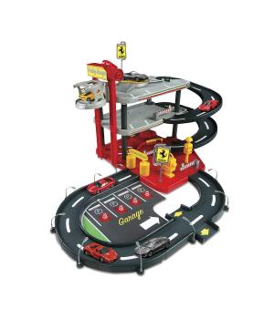 Детский игровой Гараж для машинок FERRARI (3 уровня, 2 машинки 1:43), Bbburago
