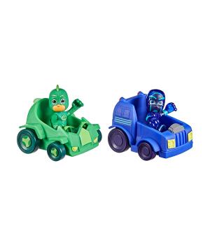 Игрушки Герои в масках - Геко и Ночной ниндзя (2 фигурки, 2 машинки), Hasbro