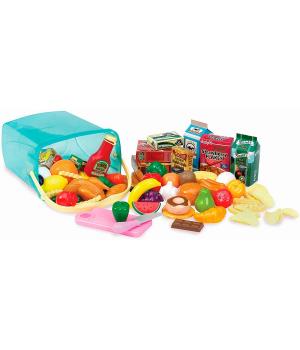 Большой набор игрушечных продуктов в корзинке