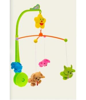 Мобиль с мягкими игрушками на кроватку,(заводной механизм, 2 вида)