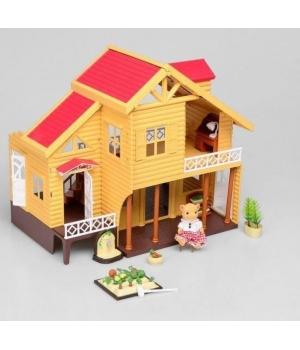Игрушечный домик для кукол, двухэтажный (с мебелью)