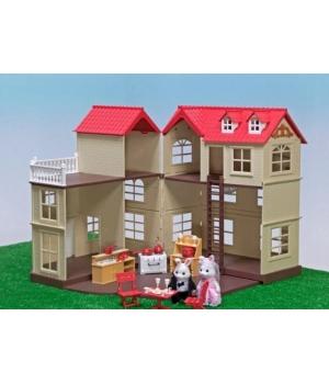 Игрушечный домик для кукол, трехэтажный (с мебелью)