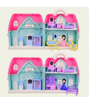Домик для кукол с мебелью и фигурками, (2 вида)