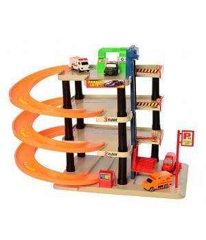 Парковка игрушка для детей с машинками и лифтом, 4-уровневый