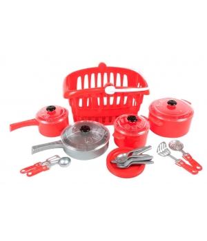Игрушечная посуда для детей в корзинке, 24 шт, (красный), Kristinka-2
