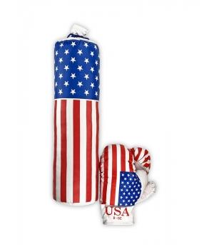 Груша боксерская детская подвесная с перчатками средняя, 1,6 кг, M-USA