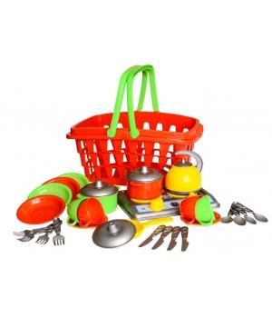 """Посуда игрушечная детская в корзинке """"Галинка"""", 28 элементов, Технок"""