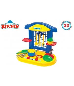 Детская кухня игрушечная мини с посудой, 22 предмета, Технок
