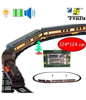 Железная дорога с поездом игрушка, свет, звук, эфф.., Fenfa