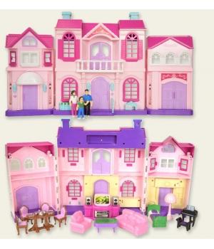 Домик для кукол на батарейках, (свет и музыка, фигурки семьи, мебель)