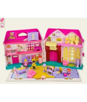 Дом для кукол на батарейках (муз, свет,с мебелью,куколками)