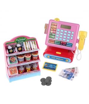 Кассовый аппарат детский (свет,звук,калькулятор,сканер,монетки,полка с продуктами)