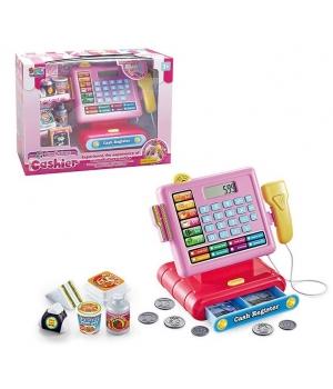 Кассовый аппарат детский (свет,звук,калькулятор,сканер,монетки,продукты)
